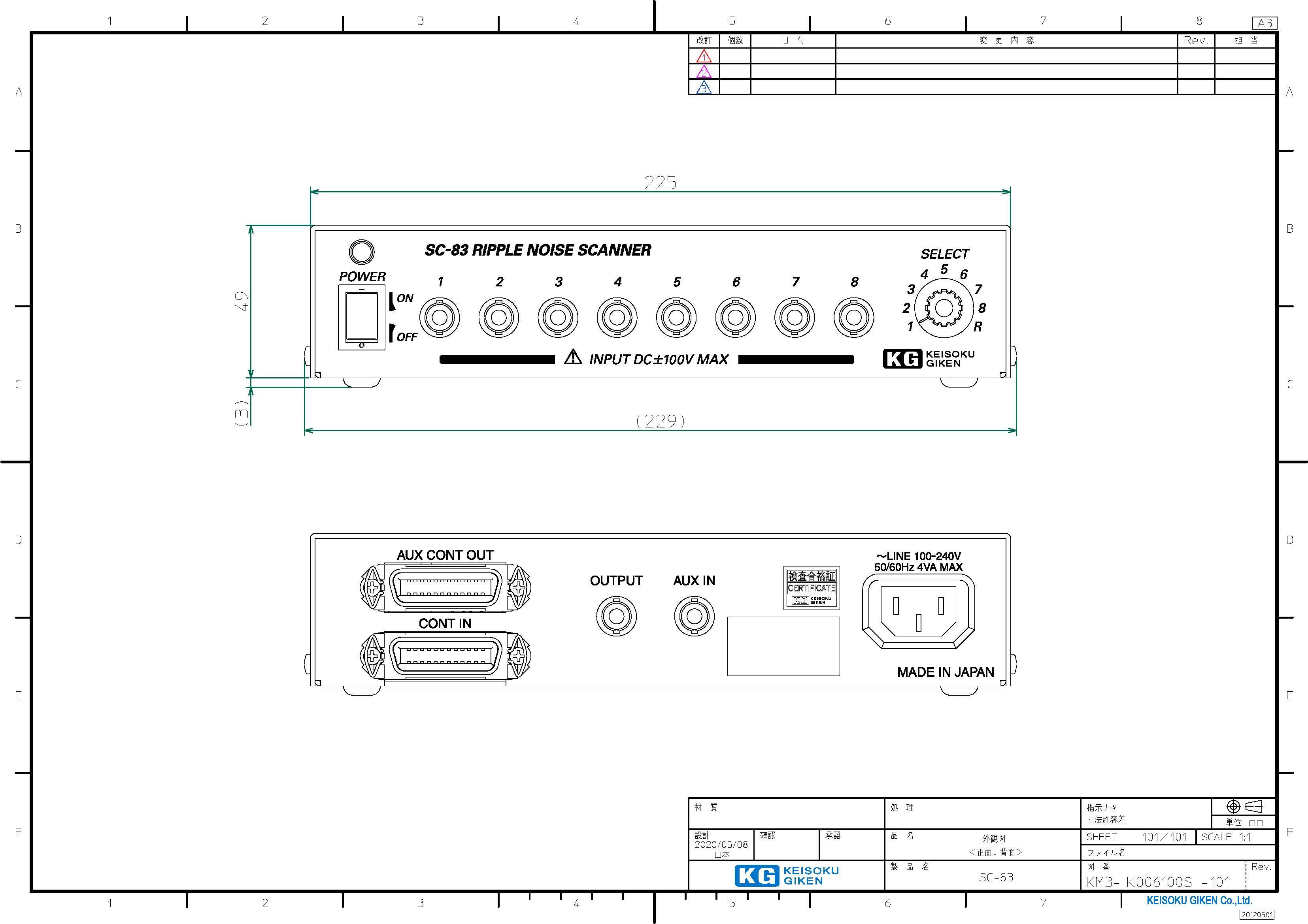 SC-83外観図(正面、背面)PDF